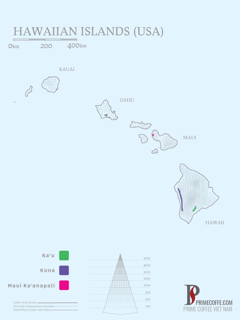 Map coffee in Hawaii -coffee inside