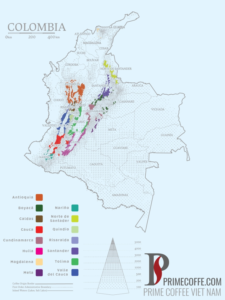 Word map coffee - Coffee in Colombia - CoffeeInside