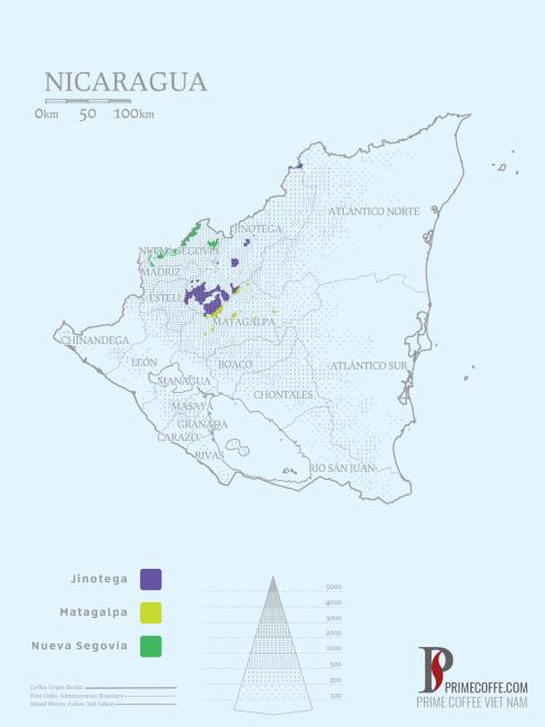 Map coffee in Nicaragua - Coffee inside