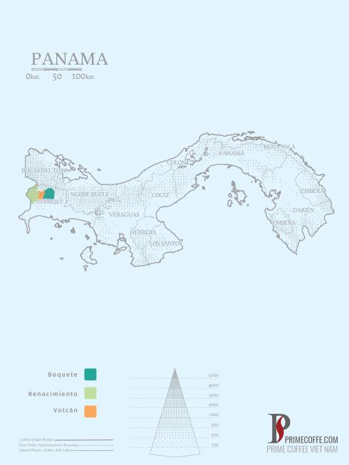 Map coffee in Panama-Coffee inside